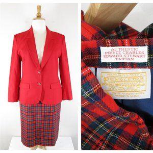 Vintage Pendleton Red Tartan Plaid Wool Skirt Suit